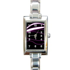 Purple, white and black lines Rectangle Italian Charm Watch