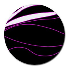 Purple, white and black lines Round Mousepads