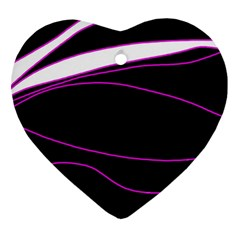 Purple, white and black lines Ornament (Heart)