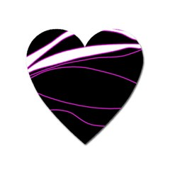 Purple, white and black lines Heart Magnet