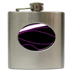 Purple, white and black lines Hip Flask (6 oz)