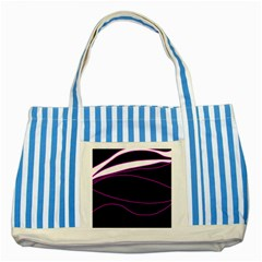 Purple, white and black lines Striped Blue Tote Bag