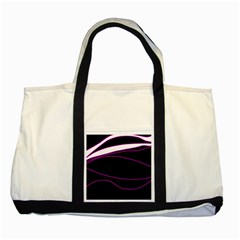 Purple, white and black lines Two Tone Tote Bag