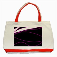 Purple, white and black lines Classic Tote Bag (Red)