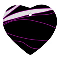 Purple, white and black lines Heart Ornament (2 Sides)