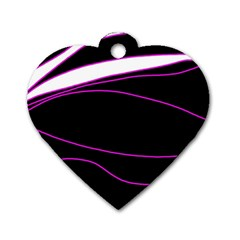 Purple, white and black lines Dog Tag Heart (One Side)