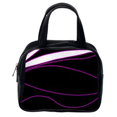 Purple, white and black lines Classic Handbags (One Side)