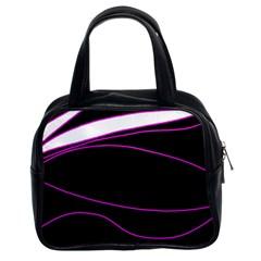 Purple, white and black lines Classic Handbags (2 Sides)