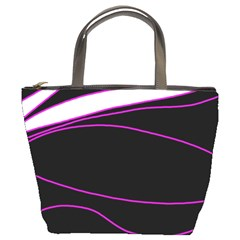 Purple, white and black lines Bucket Bags