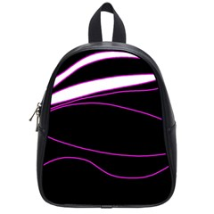 Purple, white and black lines School Bags (Small)