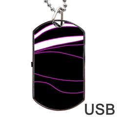 Purple, white and black lines Dog Tag USB Flash (Two Sides)