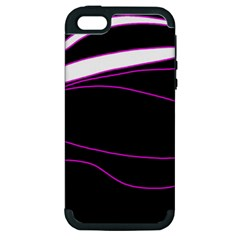 Purple, white and black lines Apple iPhone 5 Hardshell Case (PC+Silicone)