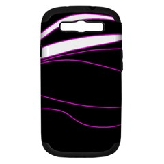 Purple, white and black lines Samsung Galaxy S III Hardshell Case (PC+Silicone)