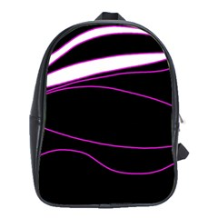 Purple, white and black lines School Bags (XL)