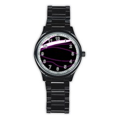 Purple, white and black lines Stainless Steel Round Watch