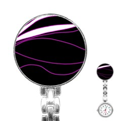 Purple, white and black lines Stainless Steel Nurses Watch