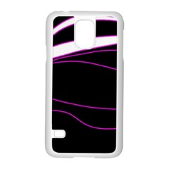 Purple, white and black lines Samsung Galaxy S5 Case (White)