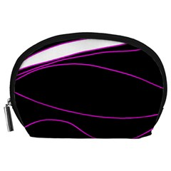 Purple, white and black lines Accessory Pouches (Large)