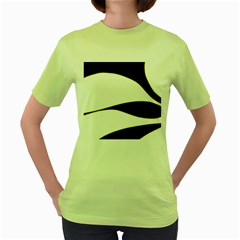 Yellow, black and white Women s Green T-Shirt
