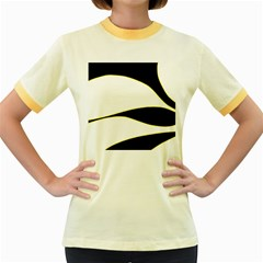 Yellow, black and white Women s Fitted Ringer T-Shirts