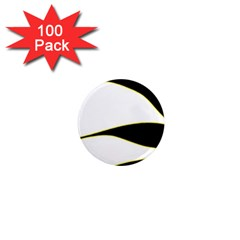 Yellow, black and white 1  Mini Magnets (100 pack)