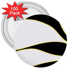 Yellow, black and white 3  Buttons (100 pack)