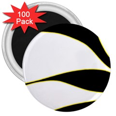 Yellow, black and white 3  Magnets (100 pack)