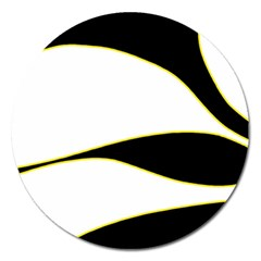Yellow, black and white Magnet 5  (Round)