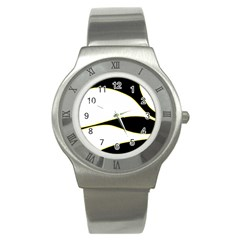 Yellow, black and white Stainless Steel Watch