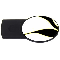 Yellow, black and white USB Flash Drive Oval (4 GB)