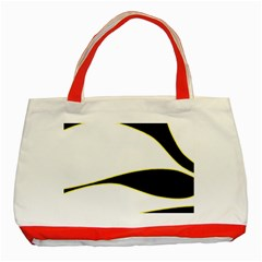 Yellow, black and white Classic Tote Bag (Red)