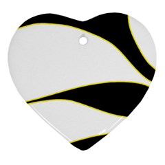 Yellow, black and white Heart Ornament (2 Sides)