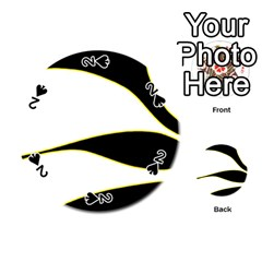 Yellow, black and white Playing Cards 54 (Round)