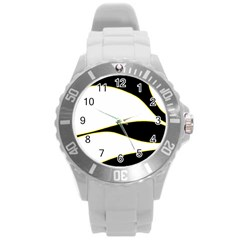 Yellow, black and white Round Plastic Sport Watch (L)