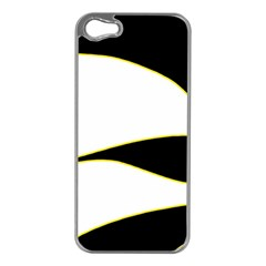 Yellow, black and white Apple iPhone 5 Case (Silver)