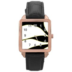 Yellow, black and white Rose Gold Leather Watch