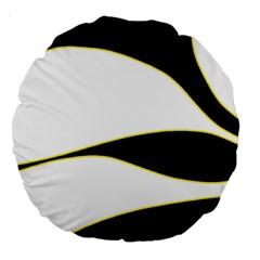 Yellow, black and white Large 18  Premium Flano Round Cushions
