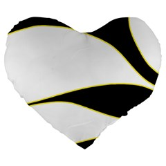 Yellow, black and white Large 19  Premium Flano Heart Shape Cushions