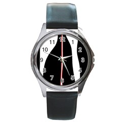 White, red and black Round Metal Watch