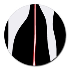 White, red and black Round Mousepads