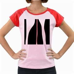 White, red and black Women s Cap Sleeve T-Shirt