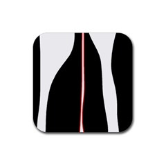 White, red and black Rubber Square Coaster (4 pack)