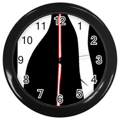 White, red and black Wall Clocks (Black)