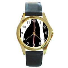 White, red and black Round Gold Metal Watch