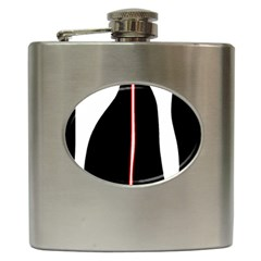 White, red and black Hip Flask (6 oz)