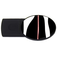 White, red and black USB Flash Drive Oval (1 GB)