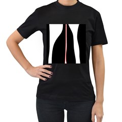 White, red and black Women s T-Shirt (Black) (Two Sided)
