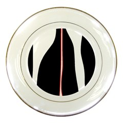 White, red and black Porcelain Plates