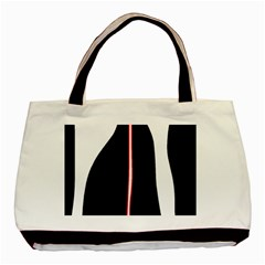 White, red and black Basic Tote Bag