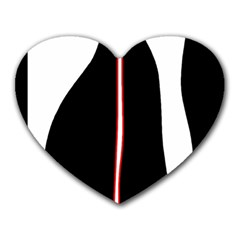 White, red and black Heart Mousepads